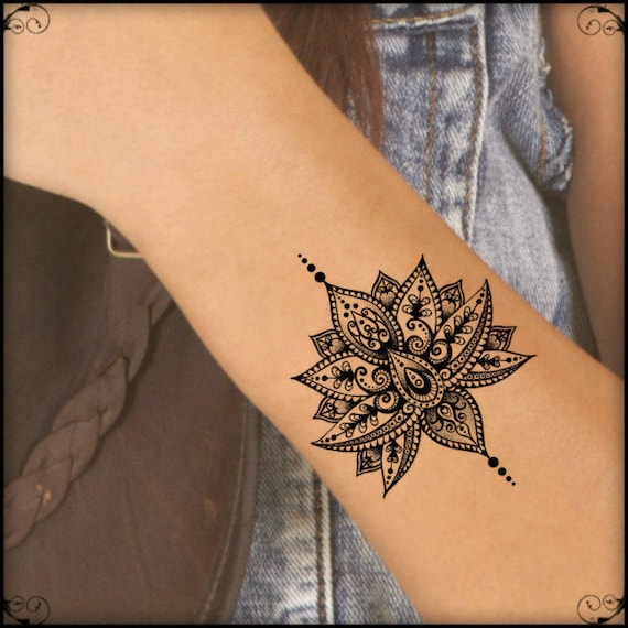 Temporary Tattoo Mandala Lotus Fake Tattoos Realistic Thin