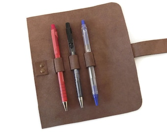 Leather Pen Roll, Leather Pencil Case, Roll Up  Pencil Case, Pen Holder, Pencil Organizer, Travel Case, Pencil Holder, Pencil Storage Case