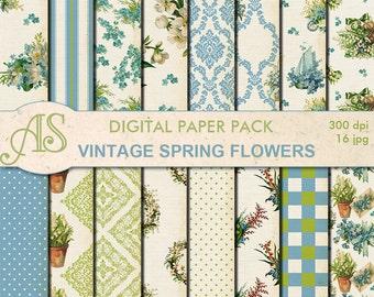 Digital Vintage Shabby Spring Flowers Paper Pack, 16 printable Digital Scrapbooking papers, distress papers, Instant Download, set 281