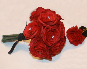 8 Piece Red Open Rose Bridal Bouquet Package with diamond head pins