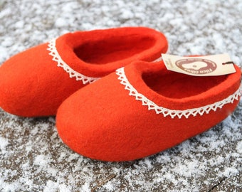 Hand Felted Wool Slippers. Red with White linen lace decor. Made to order.