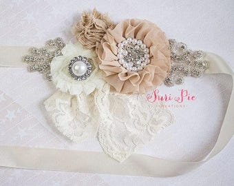 Rustic Flower Girl Sash, Burlap Sash, Bridal Belt / Sash, Bridesmaid Sashes, Maternity Sash, Flower Girl Sashes
