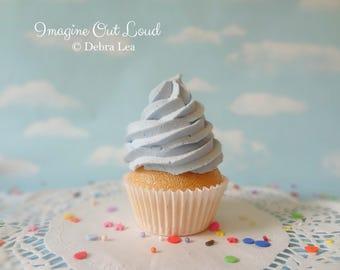 Fake Cupcake Baby Blue Blueberry Faux Photo Prop Kitchen Decor Favor