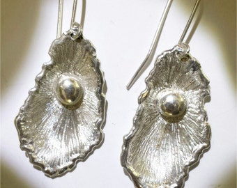 Silver earring, oyster and pearl
