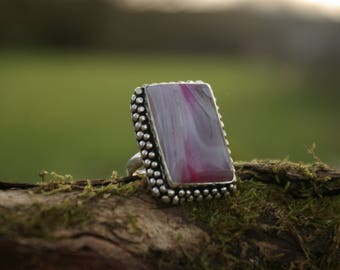 Beautiful botswana agate ring, size 56 or 7.5 US, stone of support in our projects