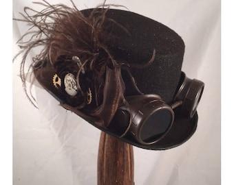 STEAMPUNK TOP Hats, Top Hats, Riding Hats, Brown, Felt, Ostrich, Goggles, Clock Parts