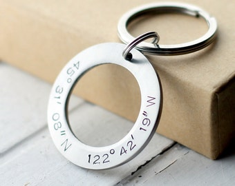 Circle Coordinates Key Chain, Hand Stamped Key Ring Stainless Steel, Latitude, Longitude, Location Keychain, Anniversary, Washer, Initials