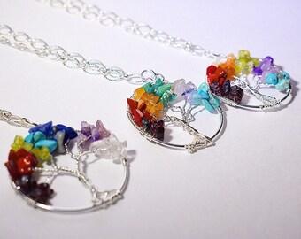 Tree of Life Rainbow Pendant Necklace
