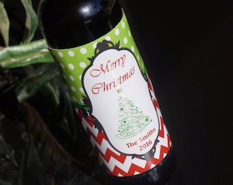 Christmas Wine Labels, Christmas Tree wine label, Personalized Christmas Wine Labels, Red and Green Christmas wine labels,  Set of 20