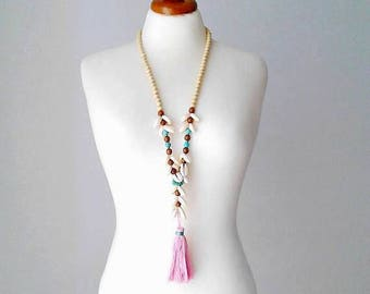 Shell necklace shell jewelry summer necklace tassel necklace sea shell necklace pom pom necklace seashell necklace pompom tassel pink tassel