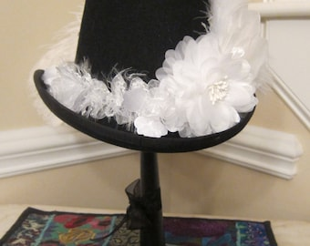White on Black Stevie Nicks Inspired Top Hat - Sara II