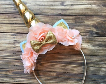 Gold and Peach Unicorn Headband, Princess Headband, Birthday Headband, Birthday Crown, Girls Headband