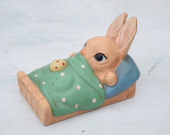 Bunny Figurine, Easter Bunny, Easter Decor, Easter Egg, Norleans Figurine, Bunny Decor, Rabbit Figurine, Sleeping Bunny, Polka Dots, Korea