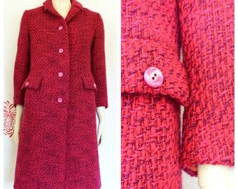 Vintage Tweed Coat | Pink Coat | Ladies Tweed Coat | Hot Pink Coat | Womens Vintage Coat | Red Winter Coat | Purple Overcoat | Pink Tweed
