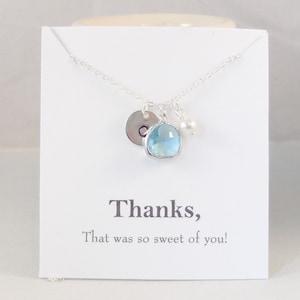 Thanks SilverAquamarine Necklace,Aquamarine,Silver Necklace,Silver Aquamarine,Initial Necklace,Aquamarine Necklace,Monogram Necklace,Pearl