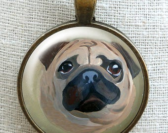 Fawn Pug Necklace ~ Pug Owner Gift ~ Gifts Under 15 ~ Pet Keepsake ~ Pug Portrait ~ Gifts for Her