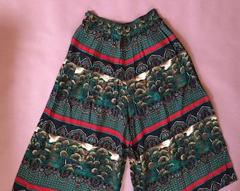 wide leg culottes | wide palazzo pants | landscape print cropped culottes