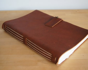 Handmade Leather Journal -- Large Auburn, Cream Thread