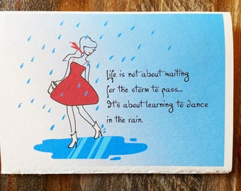Learning to Dance in the Rain Card, Encouragement Card, Card for Her, Dancing in the Rain, Help Card, Difficult Time Card, Girl Dancing Card