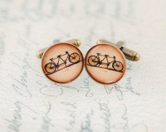 Tandem Cuff Links, Bicycle Wedding, Vintage Wedding, Bicycle Themed Wedding, Bicycle Built for Two - Style No. 506