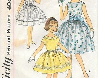 Tweens 12-Simplicity 3413 1960s Tweens/Girls Party Dress Vintage Sewing Pattern Full Skirt Short Sleeves Collar