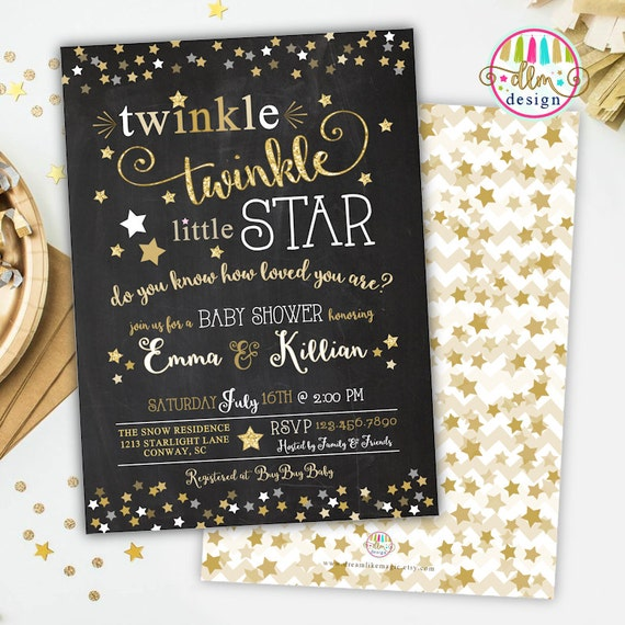 Twinkle Twinkle Little Star Baby Shower Invitation Gender