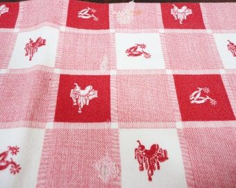 """Vintage Startex Equestrian Theme Red White Tablecloth - A Little Shabby - Checkered - Square 28"""" - Cowboy - Cowgirl - Horse Saddle"""