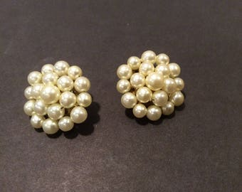 Faux Pearl Cluster Clip Earrings