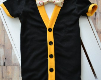 Team Color Baby Cardigan and bow tie with Interchangable Bow Tie shirt and Bow Tie