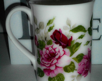 Personalised Vintage Style Fine Bone China Pink Summertime Rose Mug, Gift for Mum Gift For Her.