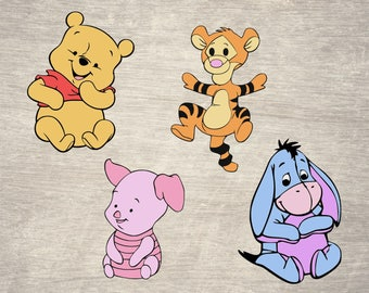Baby winnie the pooh svg files, baby winnie the pooh clipart, png, piglet svg, tigger svg, eeyore svg