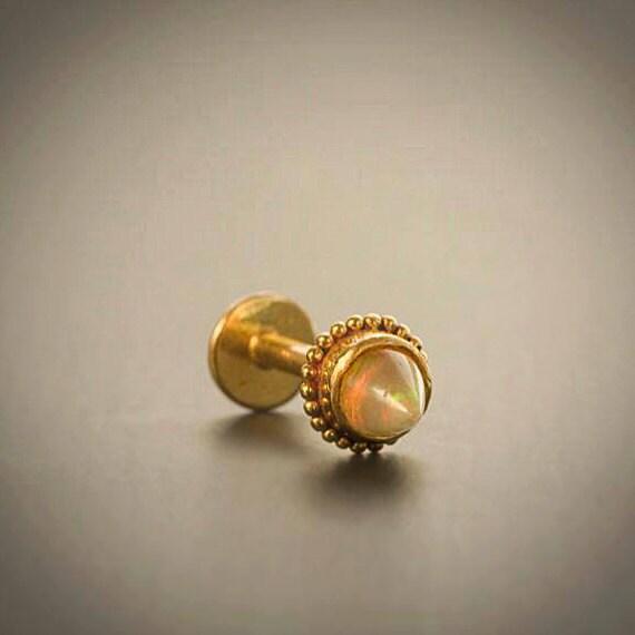 Gold Opal Labret Stud 16g Labret Ear Cartilage Opal Stud