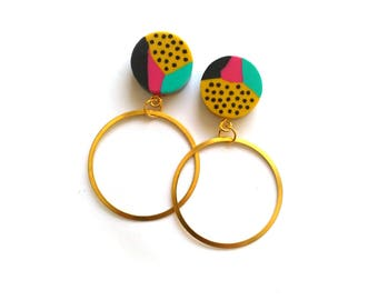 Geometric Hoop Earrings Large Brass Hoops Modern Boho Statement Earrings FREE UK SHIPPING