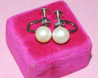 8-8.5 mm Cultured Pearl and Sterling Screw Back Earrings