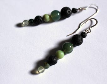 Jade, phrenite, and lava stone earrings
