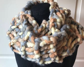 Chunky/jumbo handknit infinity scarf.  Beautiful  accent to any outfit.