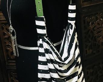 Black and White Stripe Hobo Bag