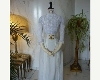 ON SALE 1909 Summerly Walking Ensemble, antique blouse, antique skirt, Walking Dress, Edwardian Dress, antikes Kleid