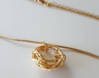Bird Nest - Gold wire wrapped beads