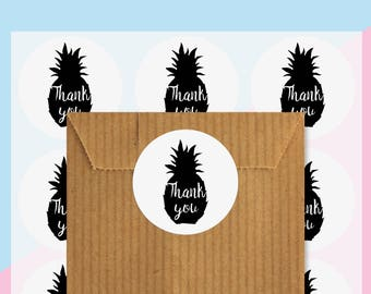 Set of 48 stickers - stickers - Thank you - pineapple