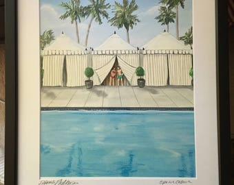 Cope in a Cabana, palm springs mix media of pool and palm trees framed
