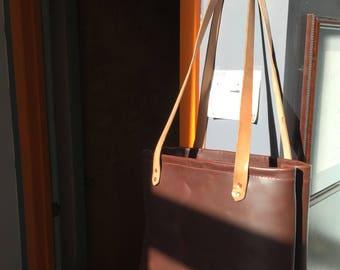 Custom full grain leather tote bag