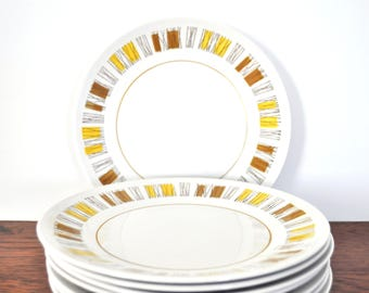 Vintage Mikasa Cera Stone Catalina Salad Plates, MCM Mid Century Modern Abstract Pattern, Yellow and Brown