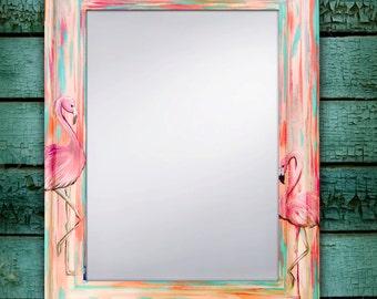 """Hand Painted Flamingo Mirror, Beach Mirror, Beach Decor, Flamingo Art, Flamingo Decor, Flamingo Mirror, Beach House Art 22x28"""""""