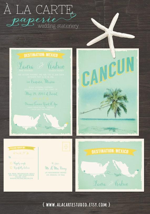 Destination wedding invitation Cancun Mexico Beach Destination
