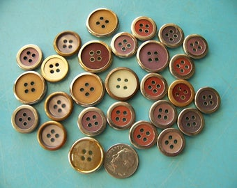 Lot of 27 Vintage Metal Rimmed Plastic Buttons Craft Buttons Sewing Buttons