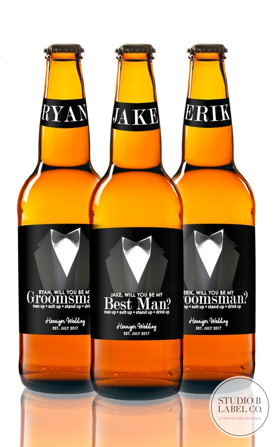 Beer Labels Will You Be My Groomsman Label Suit Up