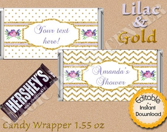 Baby Shower, Bridal, Birthday, chocolate wrapper, fits 1.55oz, Instant Download, DIY, Editable, Lilac and Gold, Flowers