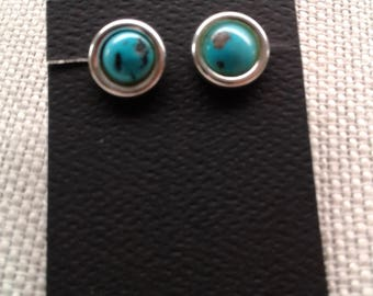 Sterling Silver 8 MM Turquoise post earrings E-1