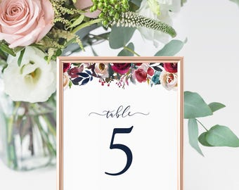 Burgundy Wedding Table Numbers, Printable Table Numbers, Autumn Wedding Table Numbers, Wedding Table Decor, Floral Table Number Signs